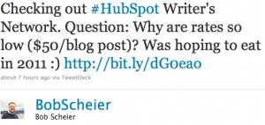 Tweet from Bob Scheier
