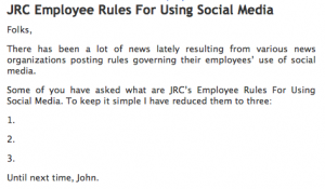 Journal Register Company's Rules for Social Media