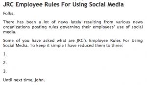 Journal Register Company's Rules for Social Media