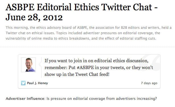 ASBPE Twitter Chat on Editorial Ethics